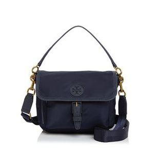 Tory Burch Scout Nylon Handbag Navy Blue Crossbody
